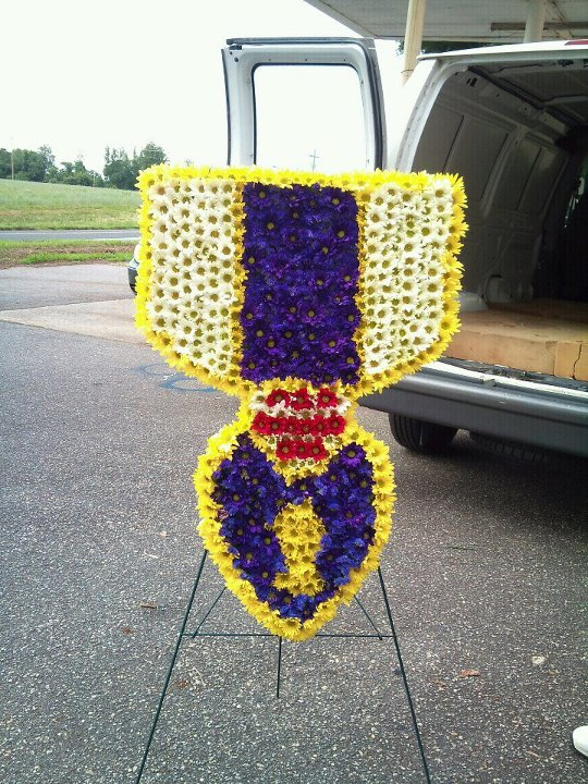 Purple Heart Funeral Flowers by Lanez Florist & Gifts, Hickory NC