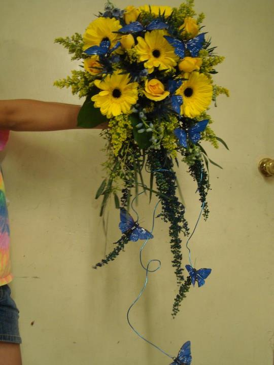 Blue and yellow wedding bouquet by Lane Florist & Gifts, Hickory NC