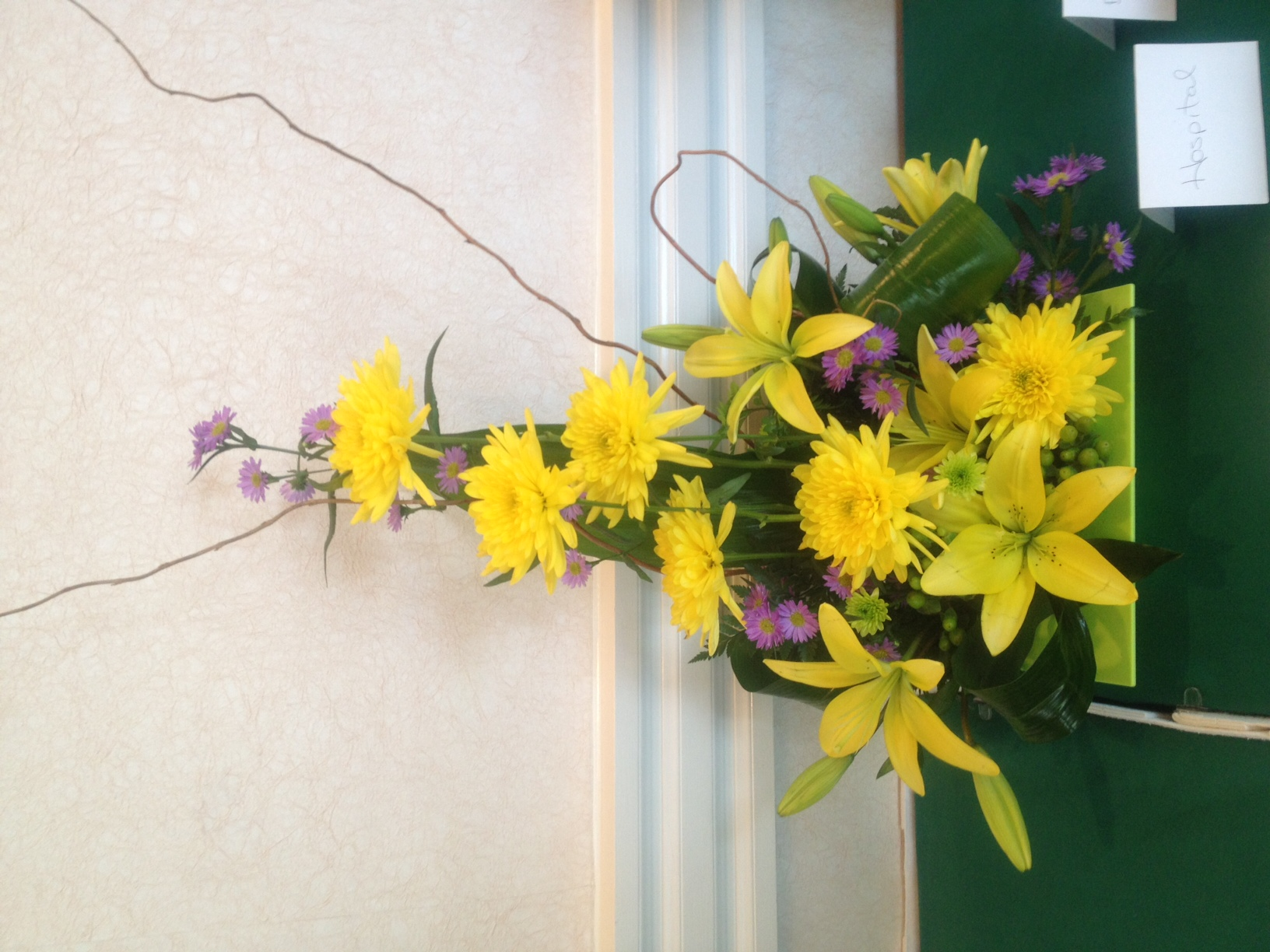 amazing Crevasses Florist Part - 8: ... Yellow floral design featuring lilies and chrysanthemums.