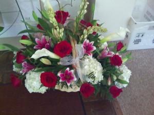 Flower basket by Swannanoa Flower Shop, Swannanoa NC