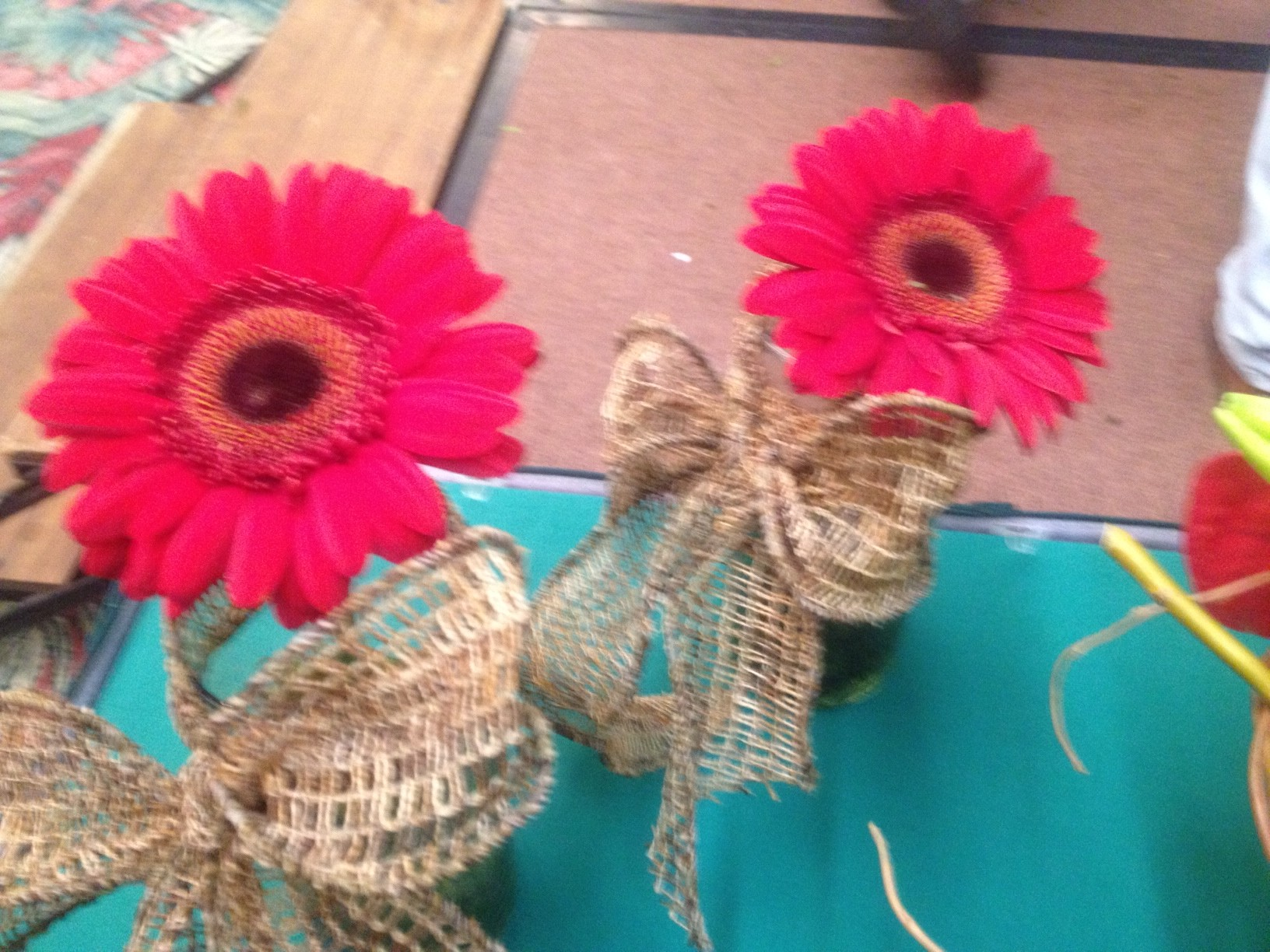 Crevasses Florist Part - 19: Rustic Woven Bows With Pick Daisies FSFA Yellow Flower ...