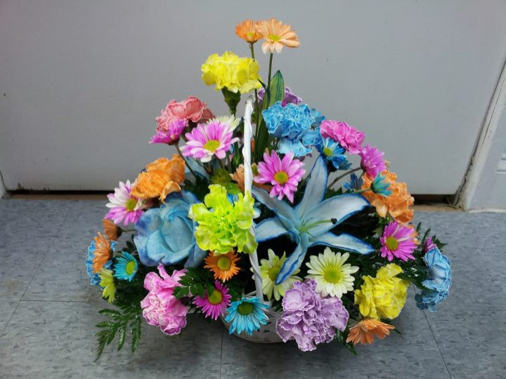 Colorful flower basket by Buds & Blossms, Edgewood MD