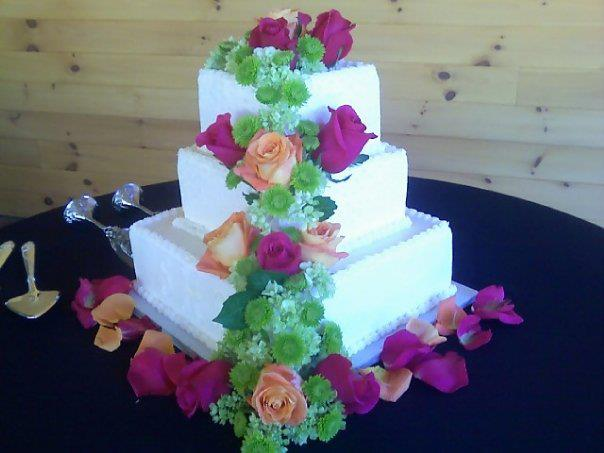 Wedding cake flowers by Swannanoa Flower Shop, Swannanoa NC