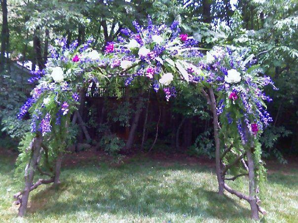 Wedding flower arch by Swannanoa Flower Shop, Swannanoa NC