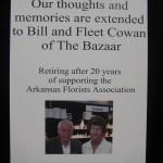 Thanks Bill & Fleet Cowan, retiring after 20 years of supporting the Arkansas Florist Association
