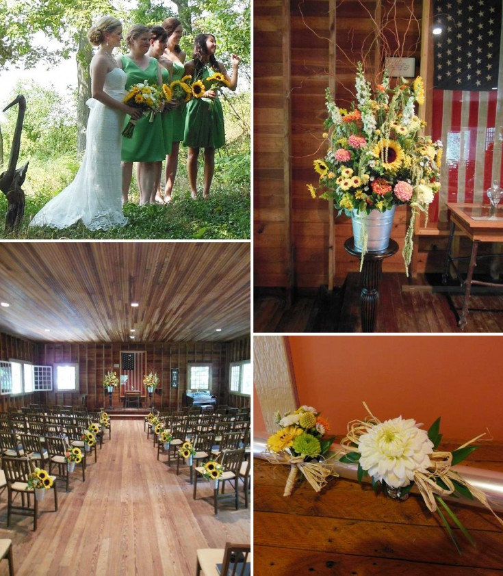 Rustic wedding flowers from Back To The Fuchsia Florist, Saugatuck MI