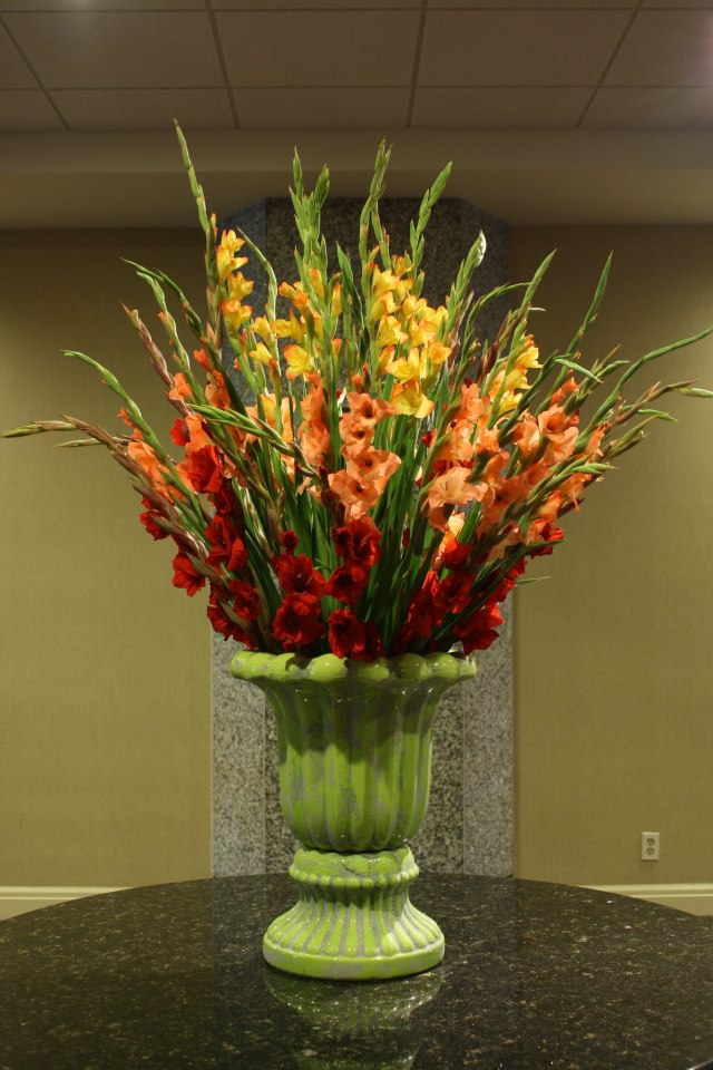 Entryway flowers by Crossroads Florist, Mahwah NJ