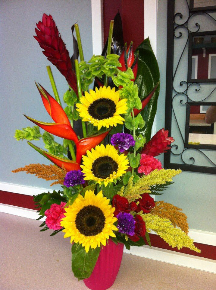 Sunflower & tropical arrangement by East Meadow Florist, East Meadow NY