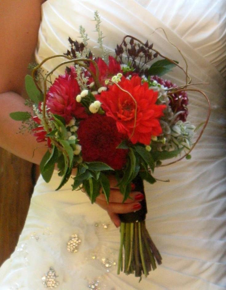Red wedding bouquet by A Lovie Creation, Gresham, OR