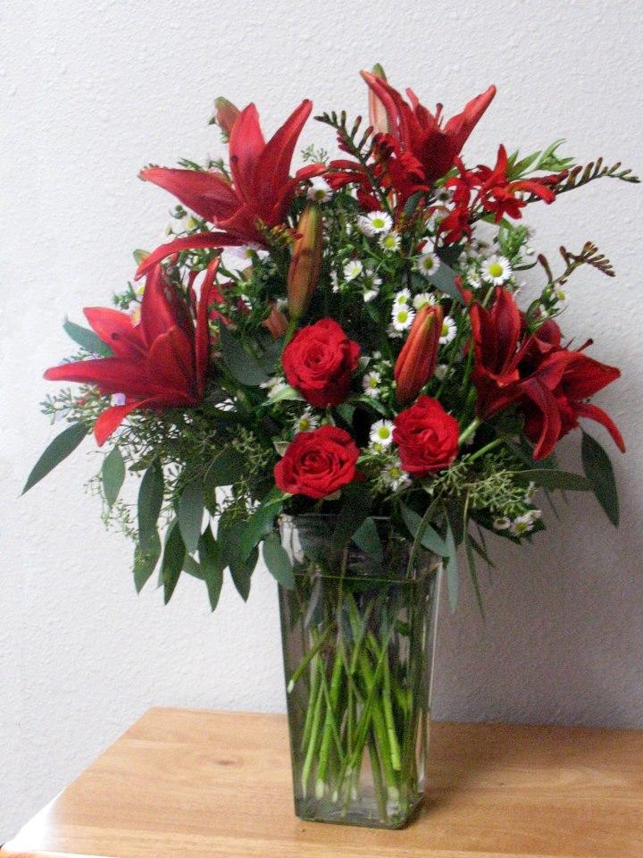 Red flower arrangement by A Lovie Creation, Gresham OR