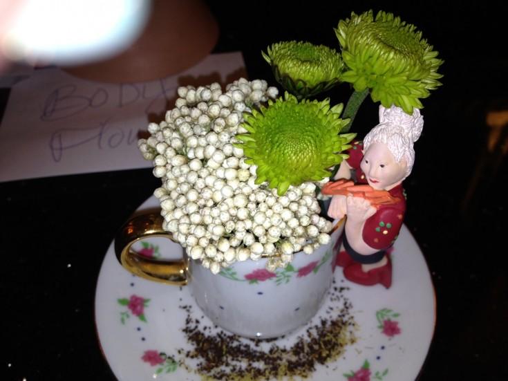 Miniature Flower Arrangement inside a Teacup
