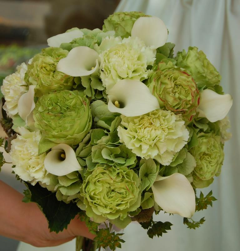 Green wedding bouquet by Monday Morning Flowers, Princeton NJ