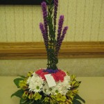 Unique flower arrangement with liatris at the North Carolina State Florist Convention