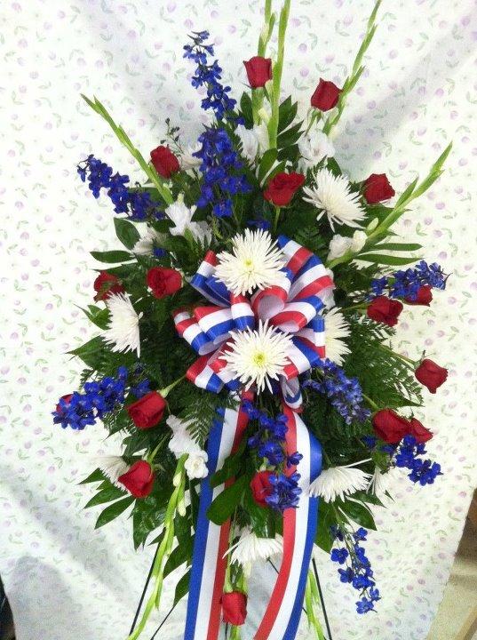 Patriotic funeral flowers by Swannanoa Florist, Swannanoa NC