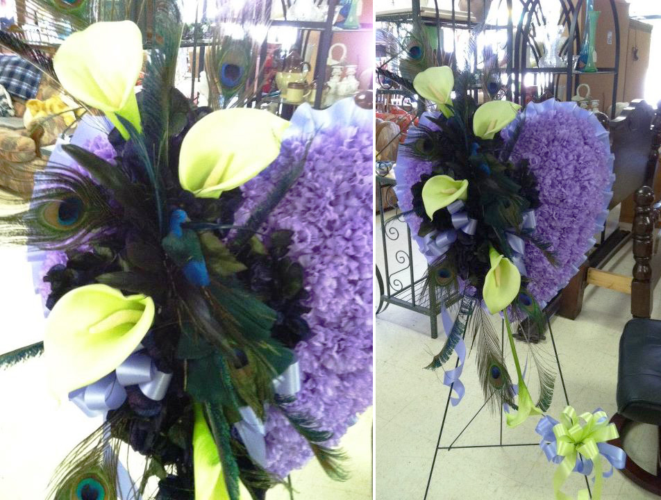 Peacock heart flowers for a funeral by Swannanoa Florist, Swannanoa NC