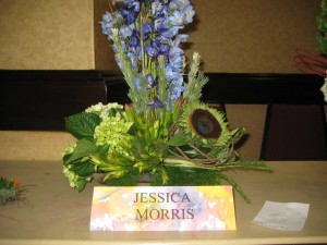 Blue & Green Flower Arrangement from the Alabama State Florist Convention
