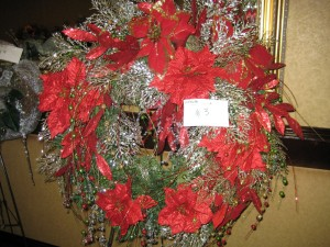 Red & Silver Christmas Wreath with Poinsettias