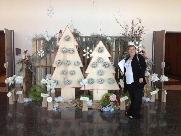 Amy at the entrance of the Mississippi Christmas Show