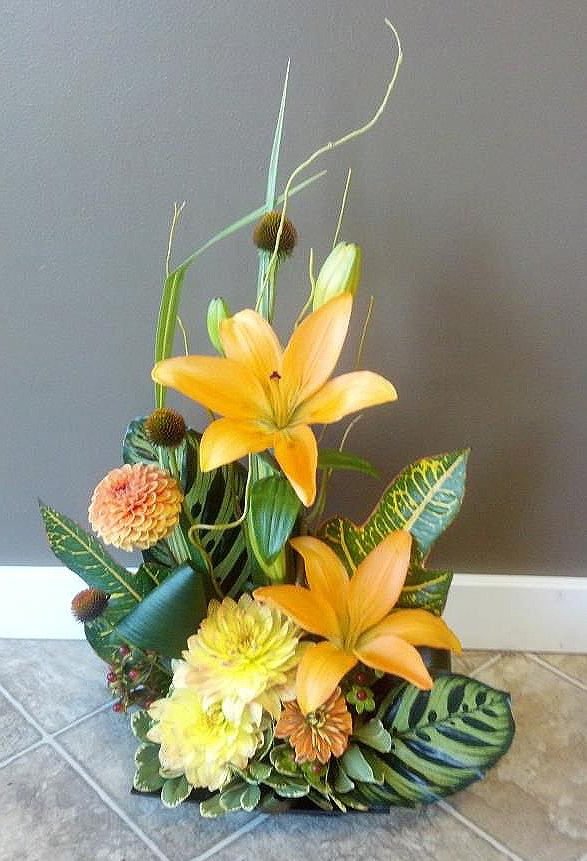 Beautiful early fall flower arrangement by Floral Design in Post Falls ID