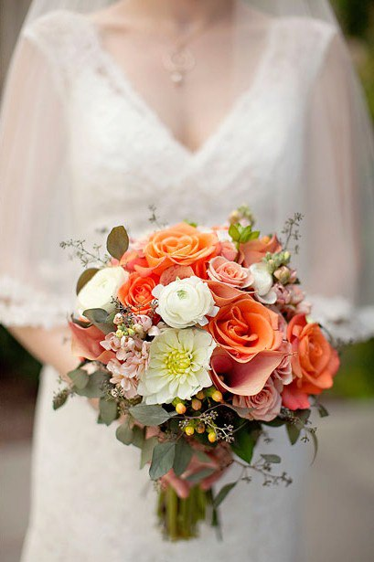 Pale Peach/Orange Wedding Bouquet by Monday Morning Flowers, Princeton NJ