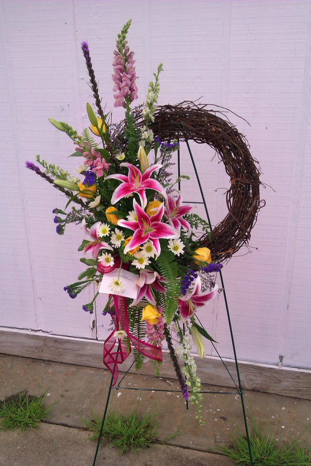 Grapevine wreath arrangement by Nature's Corner Florist, Anderson SC