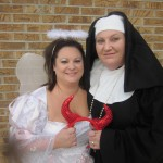 Rebecca as the Angel and Amy as a nun..