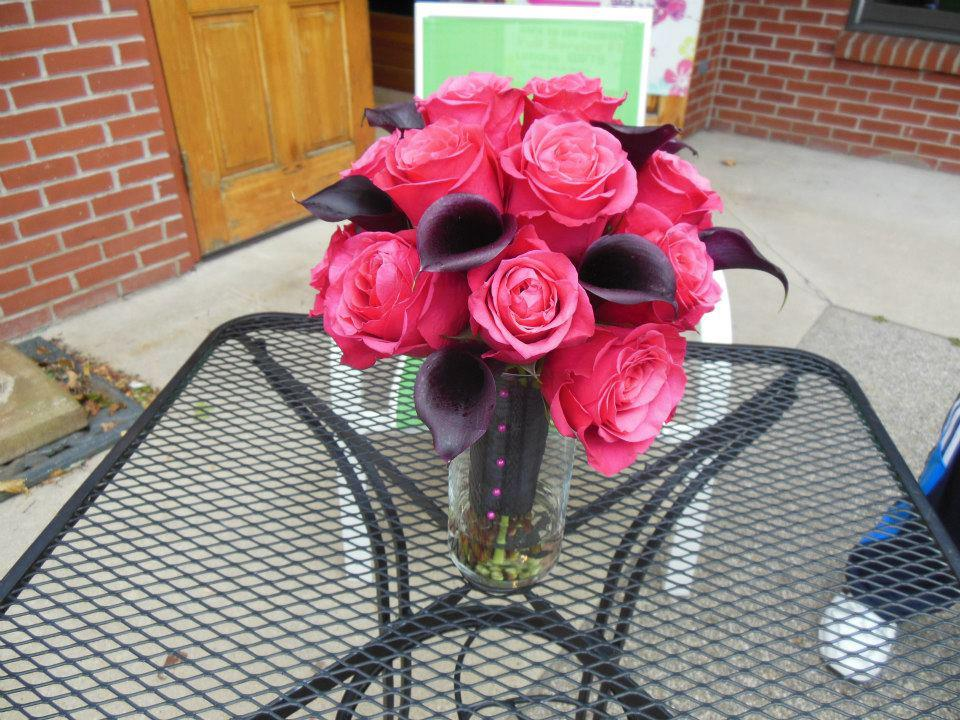 Stylish wedding bouquet by Back to the Fuchsia, Saugatuck MI