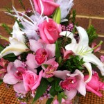 Pink flowers for breast cancer awareness by Bev's Floral & Gifts, Parowan UT