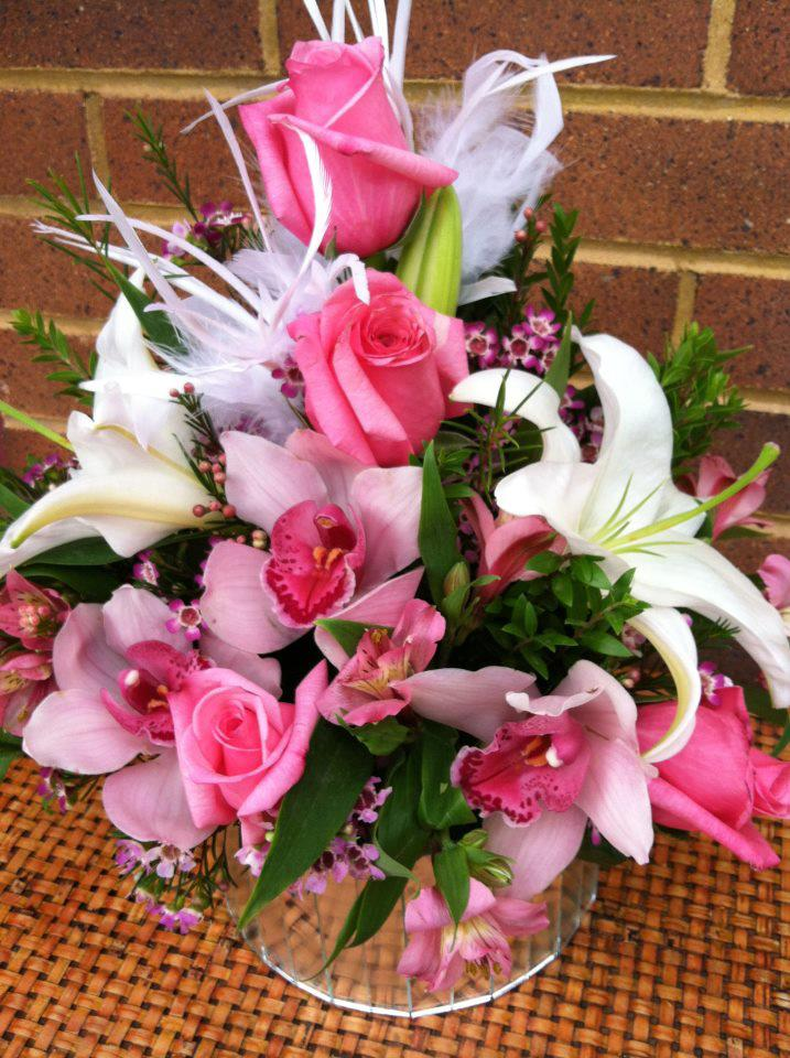 Pink flowers for breast cancer awareness by Bev''s Floral & Gifts, Parowan UT
