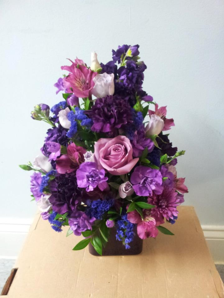 Purple flower design by Buds & Blossoms, Edgewood MD