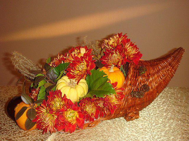 Fall cornucopia by Marina's Flowers, Staten Island NY