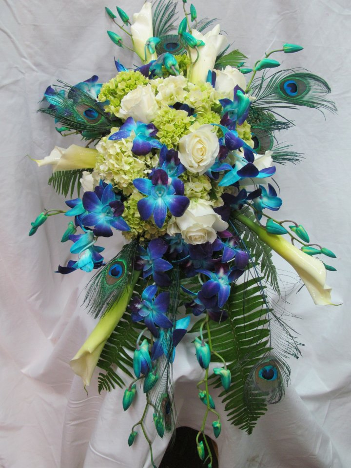 Peacock Wedding Bouquet by A Few of My Favorite Things, Wyoming IL