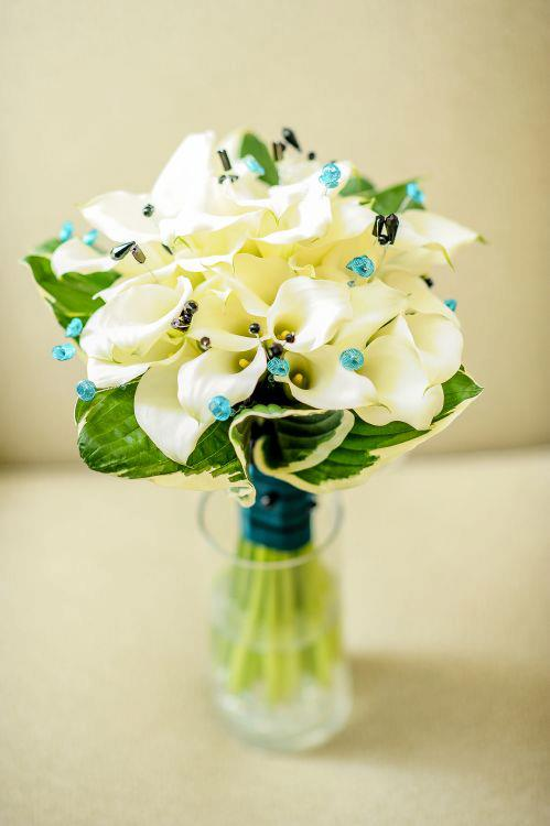 Black & teal wedding bouquet by Monday Morning Flowers, Princeton NJ