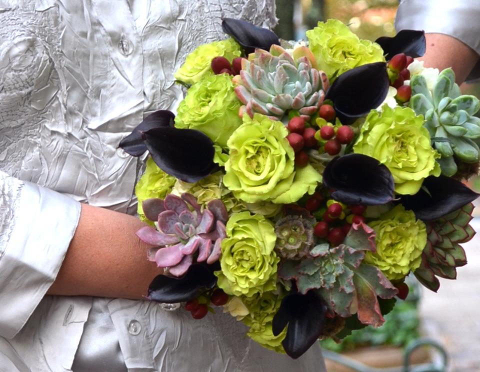 Succulent wedding bouquet by Monday Morning Flowers, Princeton NJ