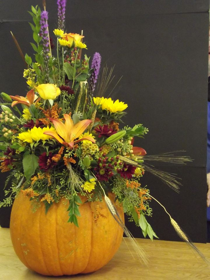 Fall arrangement inside a pumpkin by Old Dominion Florist, Tazewell VA