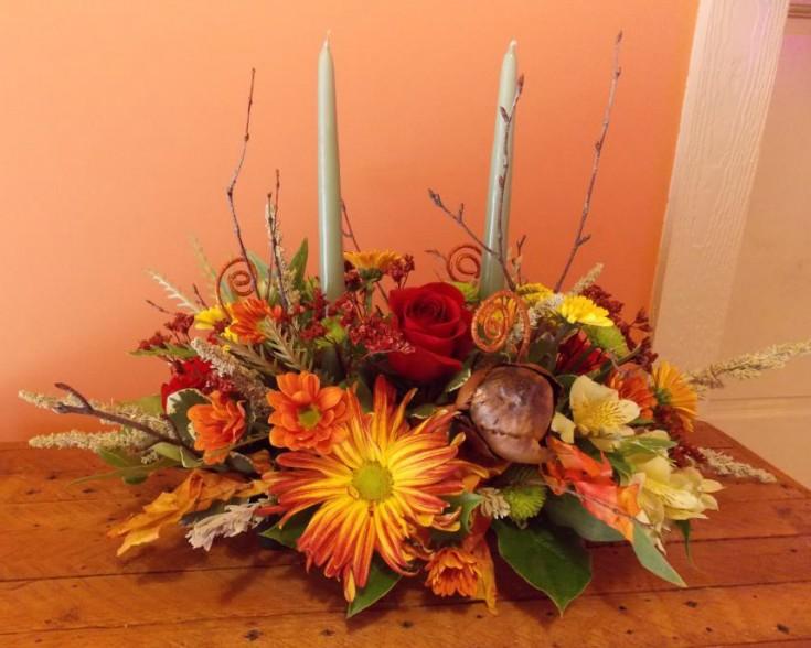 Fall centerpiece by Back to the Fuchsia Florist, Saugatuck MI