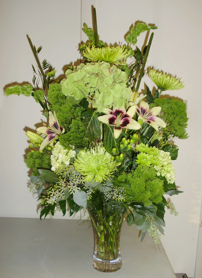 All-green arrangement by Burrell's Florist, Millersburg PA