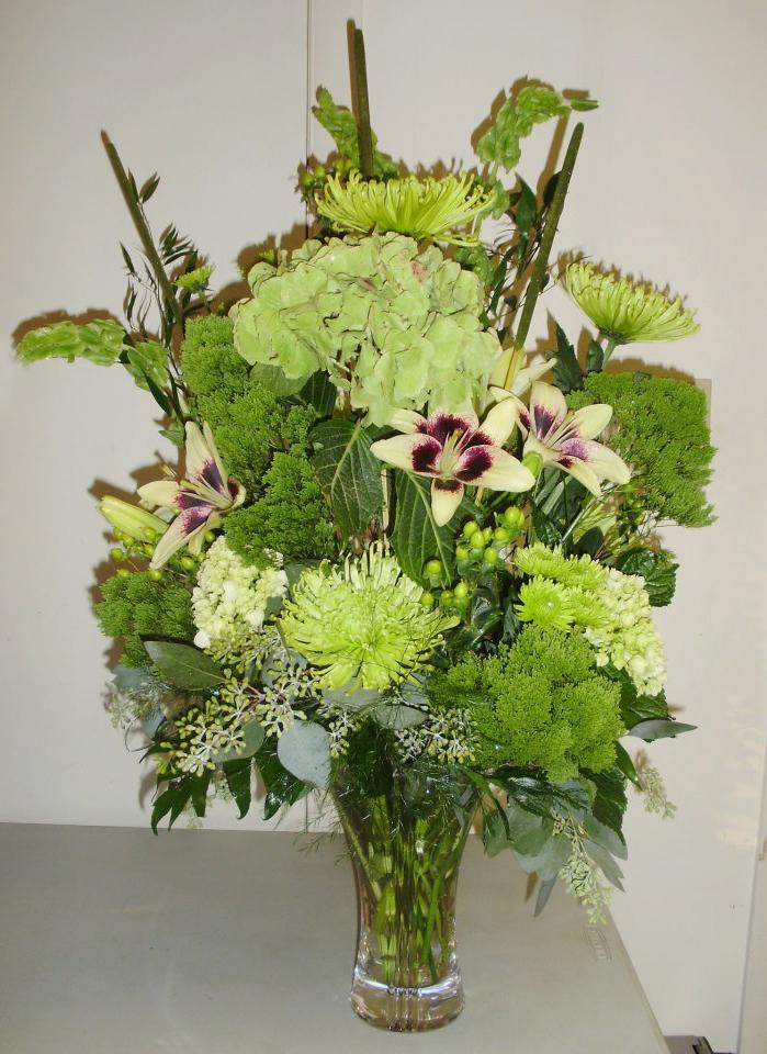 All-green arrangement by Burrell's Florist, Millersburg PA