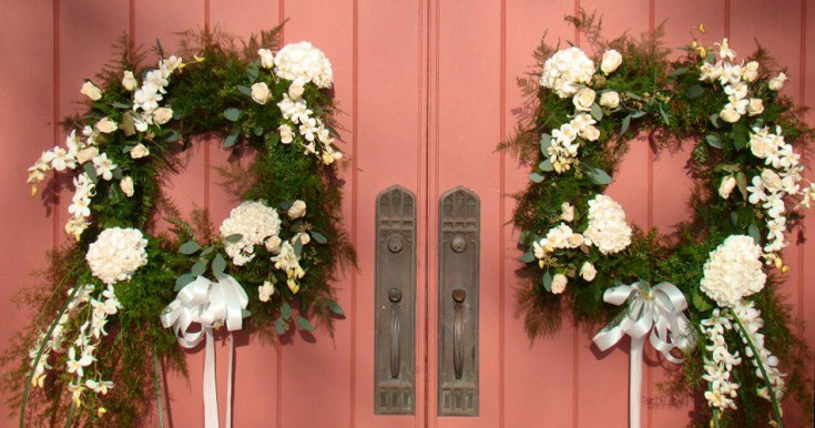 Mirrored wedding wreaths by Swannanoa Flower Shop, Swannanoa NC