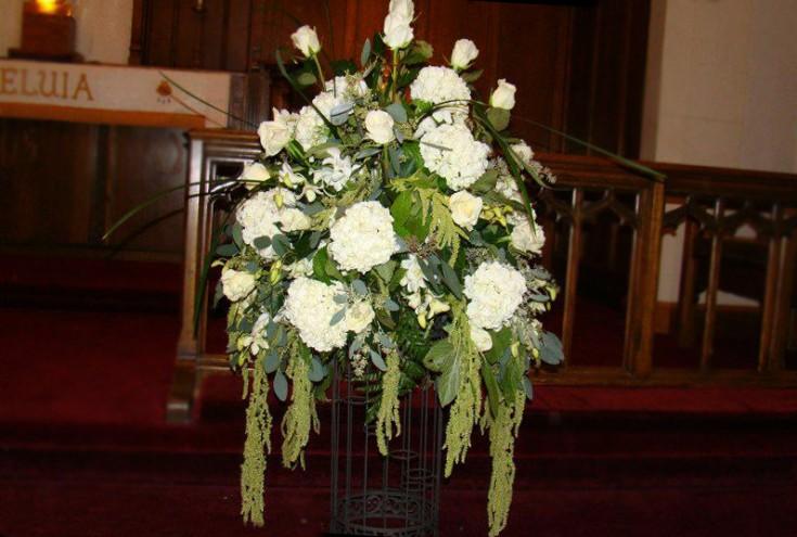 White wedding flowers by Swannanoa Flower Shop, Swannanoa NC