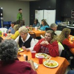 Everyone eating our Thanksgiving feast!