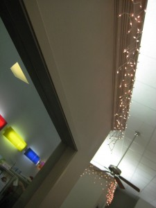 Christmas lights around some offices.