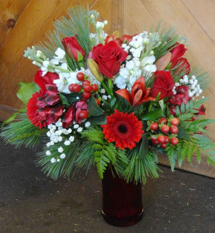 Red & White Holiday Flowers by Montgomery Florist, Montgomery NY