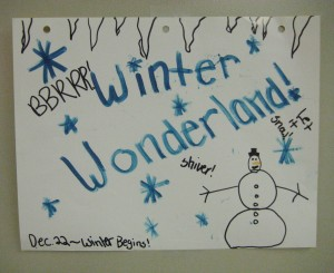 Winter Wonderland note from one of the kids.