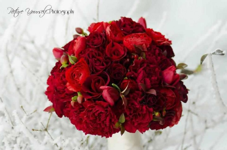 All-red wedding bouquet by Floral Design in Post Falls ID