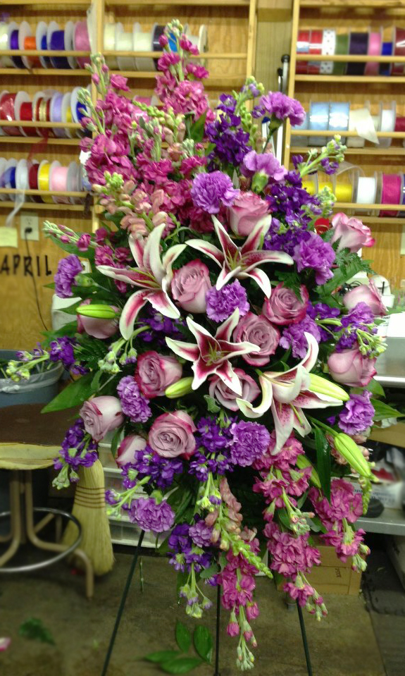 Standing spray by Jerry's Floral Shop, Greenwood SC