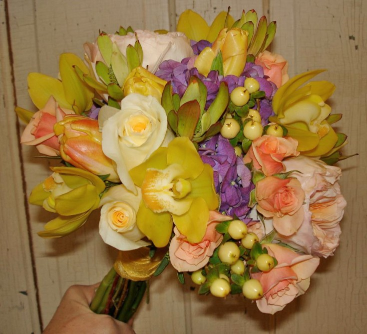 Bright yellow wedding bouquet by The Petal Patch, McFarland WI
