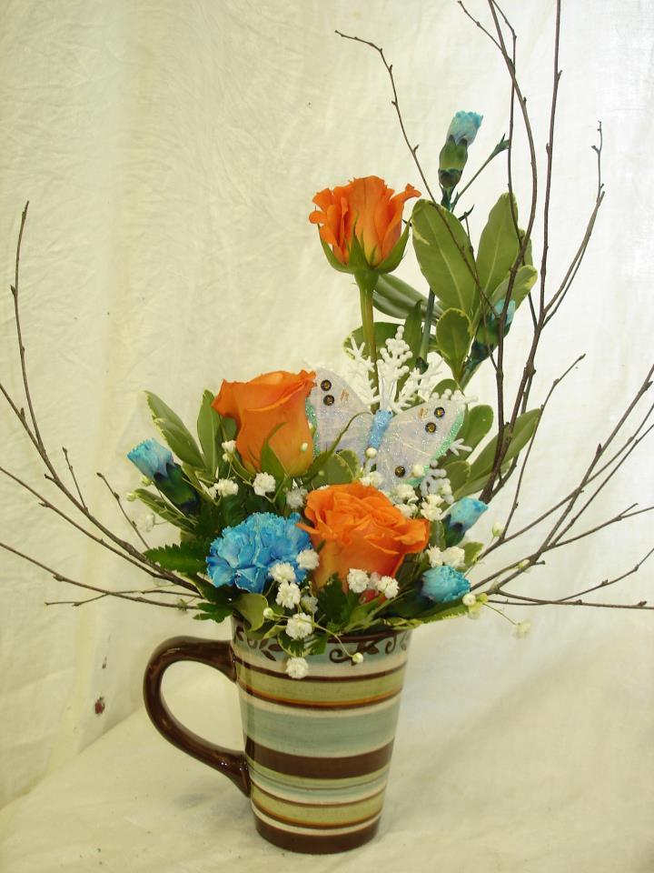 Mug arrangement by Riverside Florist, Dover Foxcroft ME