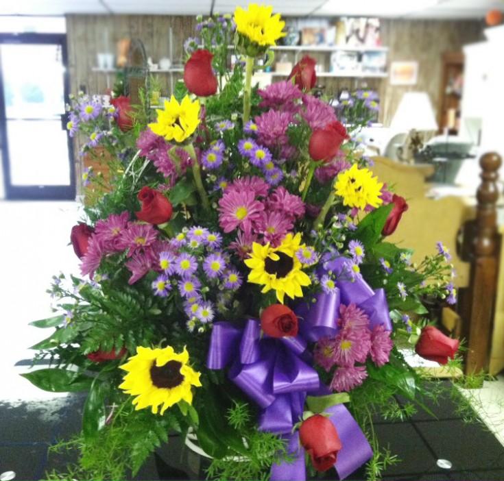 Funeral basket by Swannanoa Flower Shop, Swannanoa NC