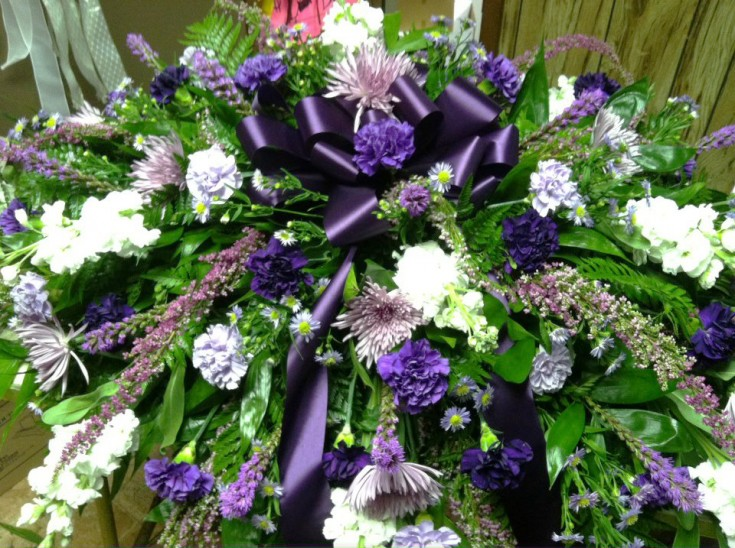 Purple funeral flowers by Swannanoa Flower Shop, Swannanoa NC